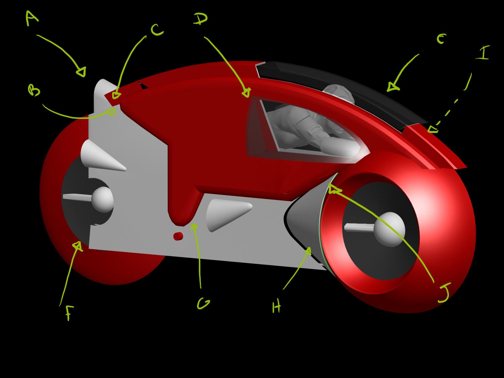 < model kit > TRON 1 LightCycle Render04b